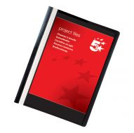 5 Star Office Project File A4 Black (Pack 5)