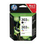 HP 303XL High Yield 2 Pack Tri-colour Black Original Ink Cartridge