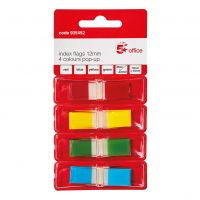 5 Star Index Flags 12mm 4 Colours Pop-Up (Pack 5)
