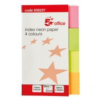 5 Star Neon Paper Markers 4 colours (Pack 5)