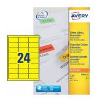 Avery YELLOW Labels Removable Laser 24 per Sheet Ref L6035-20 [480 Labels]