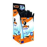 Bic Cristal Soft Ball Pen Med Blk Pk50